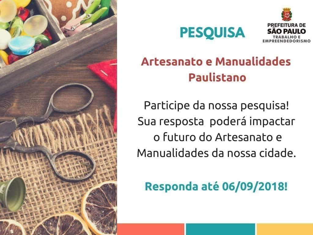 Pesquisa Artesanado Prefeitura São Paulo